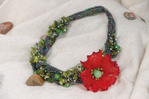 Handmade beautiful evening beaded necklace with natural stones Poppy - MADEheart.com
