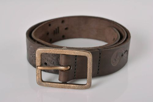 Brown leather belt handmade accessories for men leather goods men belt  - MADEheart.com