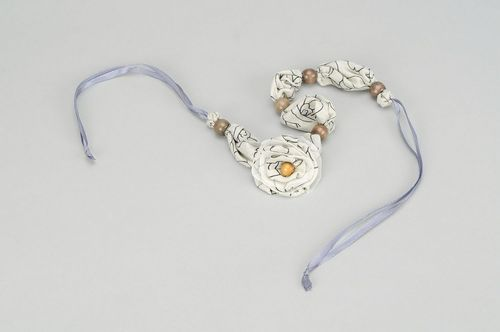 Beads made of wood and satin Elegant Gray - MADEheart.com