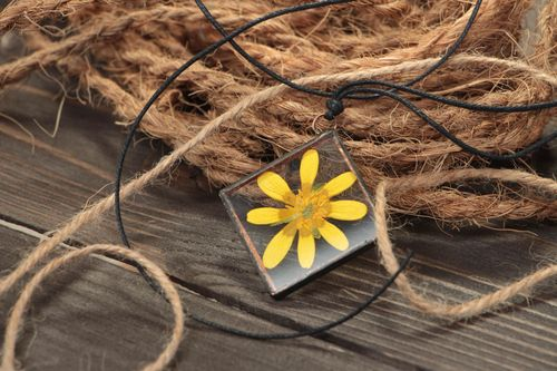 Beautiful handmade glass pendant with real flower inside on waxed cord Yellow - MADEheart.com
