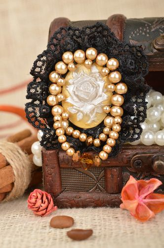 Unusual handmade designer cameo brooch with lace and beads in vintage style - MADEheart.com