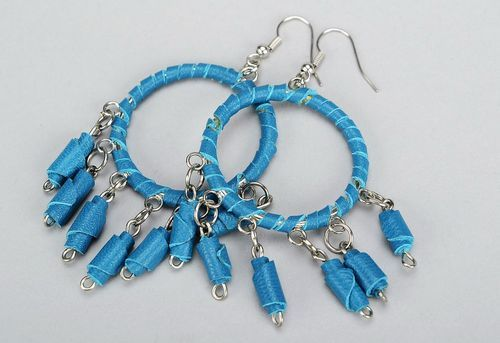 Earrings made by hand from genuine leather in ethnic style - MADEheart.com
