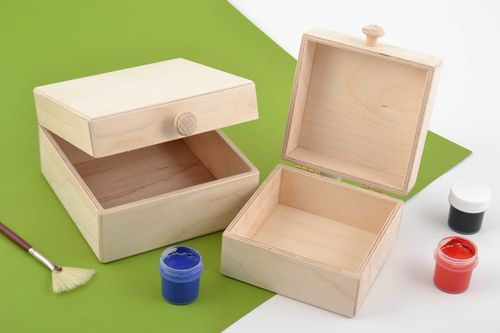 Set of 2 handmade plywood craft blanks DIY jewelry boxes for home decor - MADEheart.com
