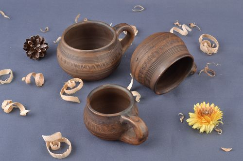 Set of handmade clay cups 3 pieces 25 ml 50 ml 75 ml ceramic tableware  - MADEheart.com