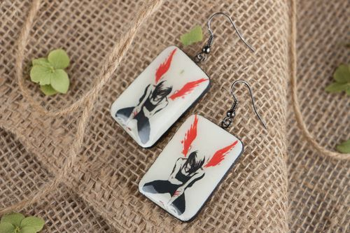 Rectangular polymer clay earrings - MADEheart.com