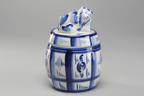 Porcelain honey pot with Gzhel painting Bear on Lid - MADEheart.com