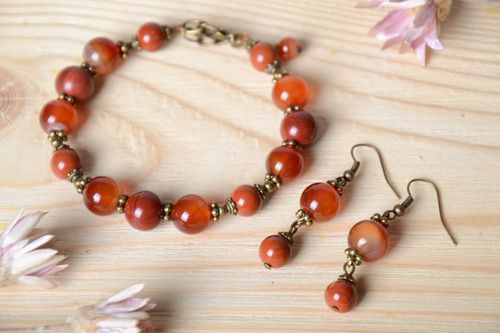 Handmade unusual jewelry set designer stylish bracelet elegant female earrings - MADEheart.com