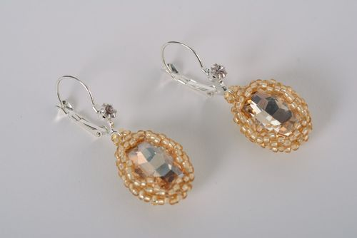 Beautiful festive handmade beaded earrings with glass cabochon for women - MADEheart.com