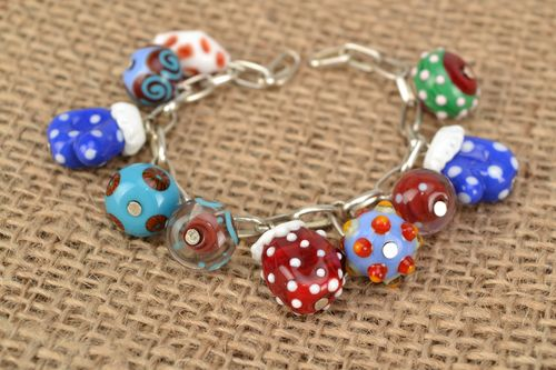 Handmade bracelet with lampwork glass beads Mittens - MADEheart.com