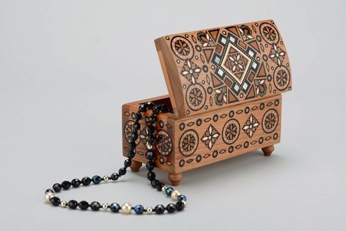 Wooden box inlaid with metal - MADEheart.com