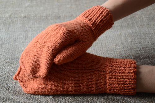 Handmade winter mittens orange female mittens knitted cute warm clothes - MADEheart.com
