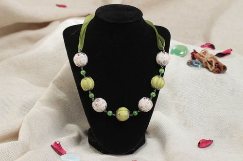 Green handmade childrens textile ball necklace with organza ribbon  - MADEheart.com