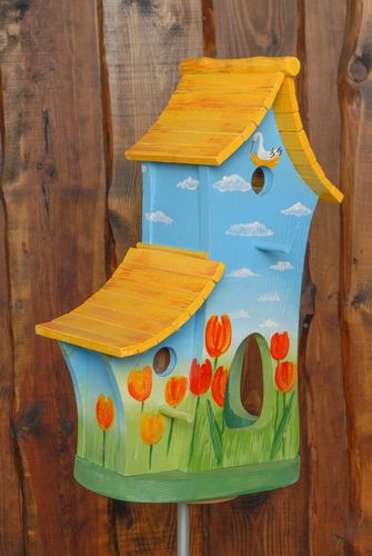Large wooden birdhouse feeder with painting - MADEheart.com