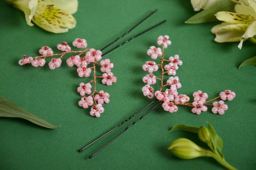 Set of 2 handmade decorative metal hair pins with flowers made of wire and beads - MADEheart.com