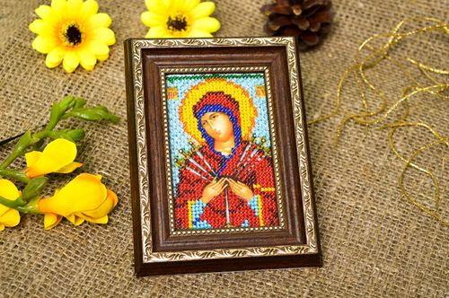 Homemade home decor bead embroidered icons orthodox icons for decorative use - MADEheart.com