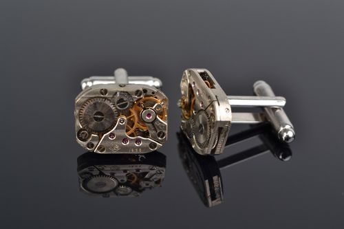 Handmade silvered clock mechanism cufflinks in steampunk style for men - MADEheart.com