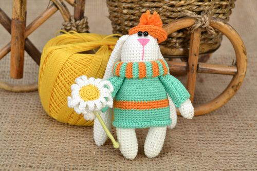 Handmade small soft toy crocheted of cotton threads rabbit in hat with flower - MADEheart.com