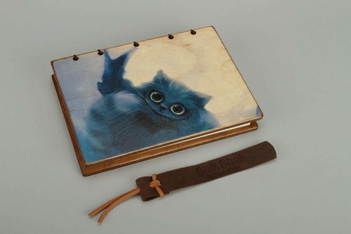 Leather notebook Cheshire Cat - MADEheart.com