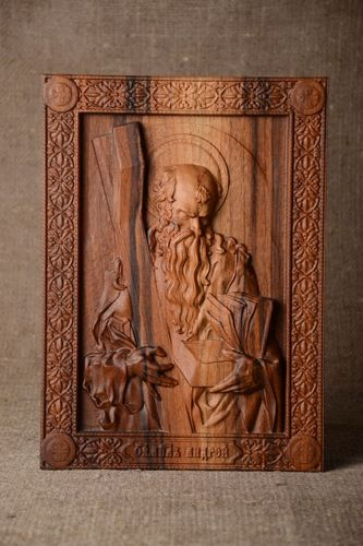 Handmade carved icon wooden lovely accessories beautiful unusual picture - MADEheart.com