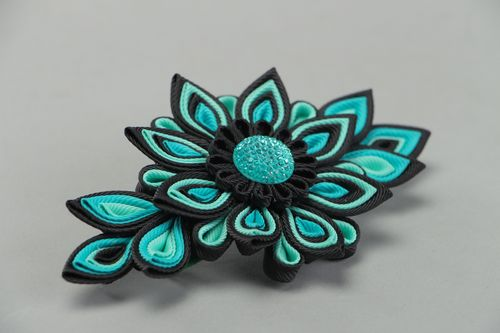 Black and turquoise handmade hair clip with kanzashi flower made of rep ribbons - MADEheart.com