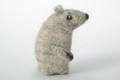 Toy Bear made using the technique of the needle and wet felting - MADEheart.com