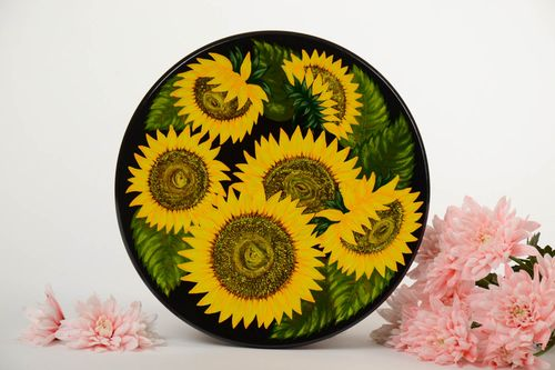 Decorative handmade painted wooden wall plate unusual design panel - MADEheart.com