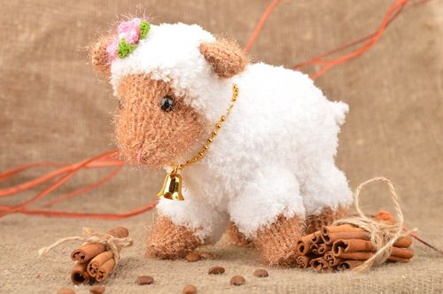 Soft crocheted toy white lamb with bell handmade designer nursery decor - MADEheart.com