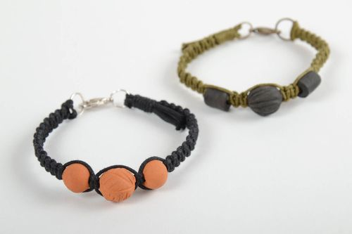Set of 2 handmade braided cord bracelets with ceramic beads designer jewelry - MADEheart.com