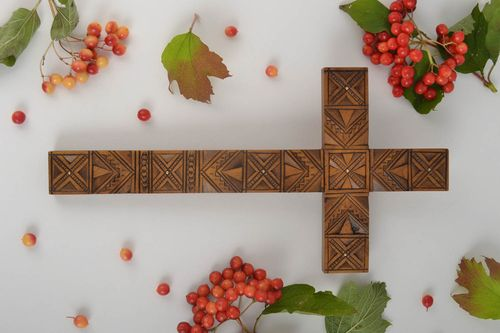 Wooden cross handmade wall decor rustic home decor wall cross religious gifts - MADEheart.com