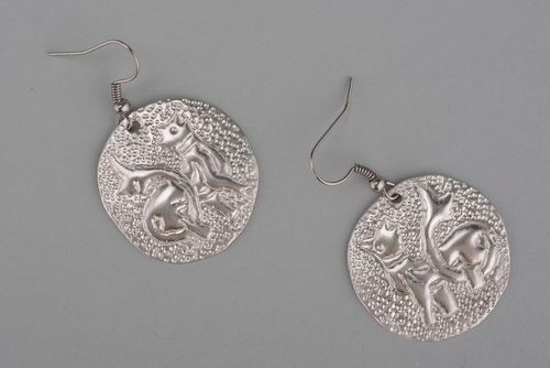 Metal earrings Simargles with silvering - MADEheart.com
