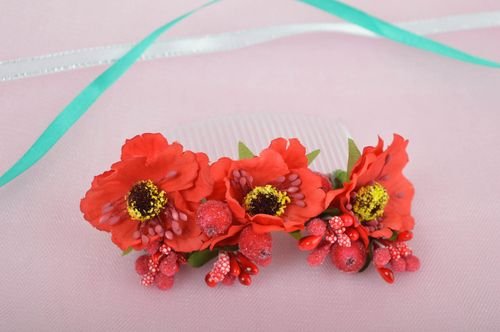 Handmade hair comb floral hair comb flower hair accessories gifts for girls - MADEheart.com