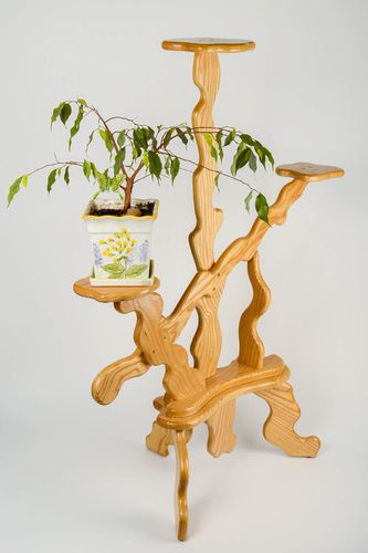 Beautiful handmade designer varnished ash tree wood flower pot holder - MADEheart.com
