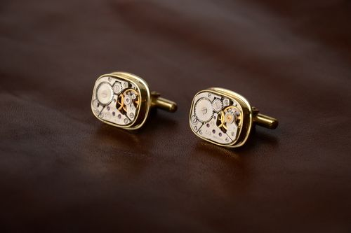 Handmade brass steampunk cufflinks unusual unisex beautiful accessory - MADEheart.com