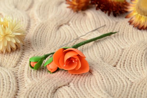 Handmade decorative metal hair pin with cold porcelain flower of orange color - MADEheart.com