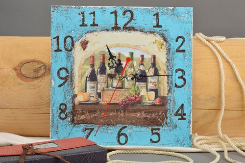 Handmade square wall clock stylish interior decor element cute home accessory - MADEheart.com