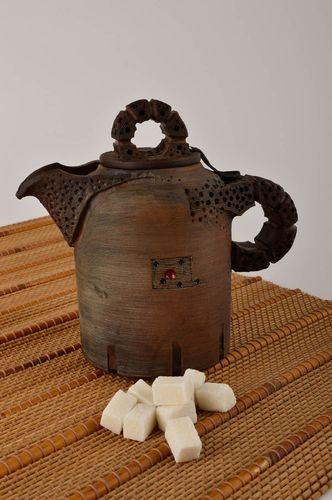 Handmade high ceramic teapot unusual clay kitchenware designer teapot - MADEheart.com