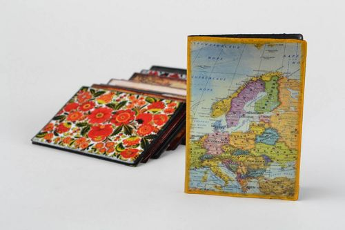 Handmade designer decoupage faux leather passport cover with map of the world - MADEheart.com