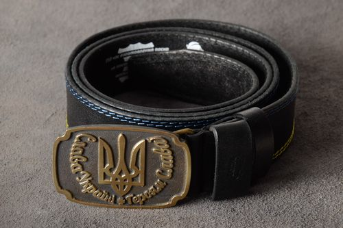 Handmade genuine leather belt with metal buckle and stamping Coat of Arms of Ukraine - MADEheart.com