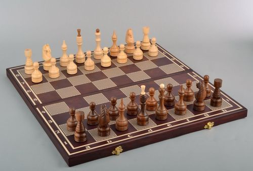 Wooden chess set 3 in 1 - MADEheart.com