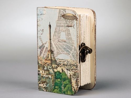 Wooden box with vintage fittings Paris, decoupage - MADEheart.com