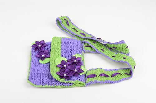Handmade bag for children on harness little light green and lilac bag  - MADEheart.com