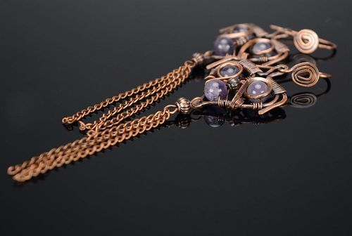 Copper earrings with amethyst - MADEheart.com