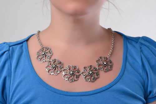 Beautiful unusual handmade metal flower necklace on chain - MADEheart.com