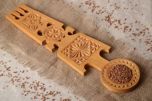Large handmade wall hanging wooden spoon with rich carved ornament in ethnic style - MADEheart.com