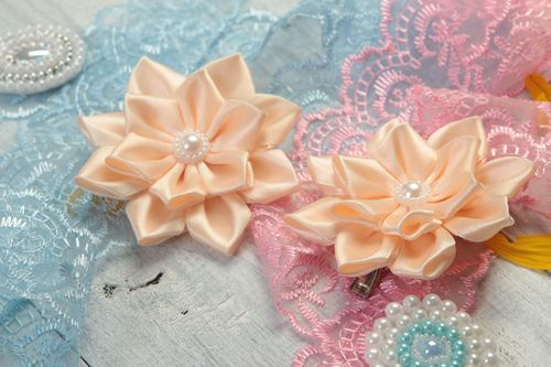 Handmade hair accessories set of 2 flower hair clips baby hair accessories - MADEheart.com
