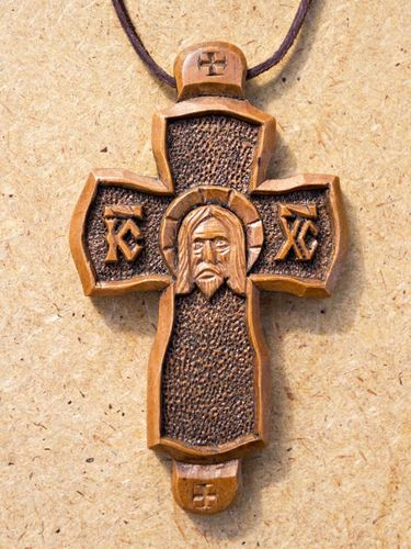 Wooden pectoral cross with a sacred face - MADEheart.com