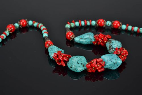 Natural stone necklace of red and turquoise colors - MADEheart.com
