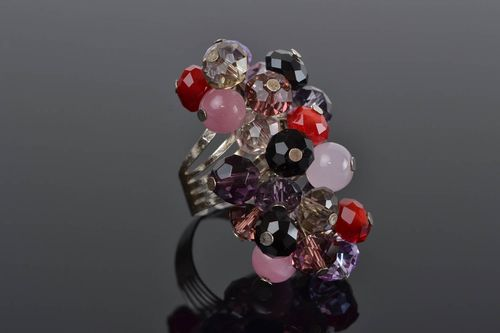 Beautiful beaded ring flower with adjustable size handmade summer accessory - MADEheart.com