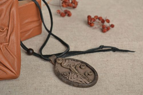 Designer pendant made of genuine leather handmade necklace accessories for girls - MADEheart.com