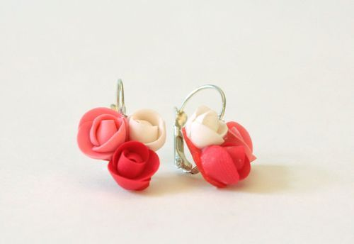 Earrings made ​​of polymer clay Roses - MADEheart.com